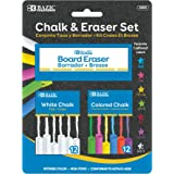 B BAZIC PRODUCTS Colored (12 Pcs) + White (12 Pcs) Chalk + Premium Chalkboard Eraser Bundle, Non-Toxic Kids Art Office Classr