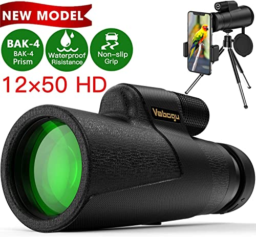 Monocular Telescope, 12×50 High Power HD Monocular for Bird Watching Adults with Smartphone Holder Tripod BAK4 Prism for Wildlife Hunting Camping Travelling Wildlife – 2020 Newest