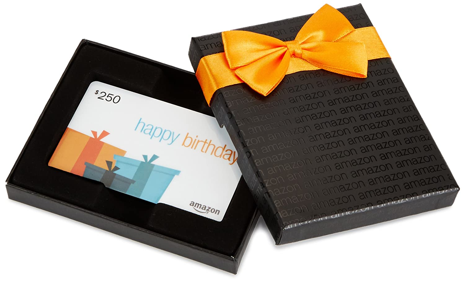 Amazon.com $250 Gift Card in a Black Gift Box (Birthday Presents Card Design)