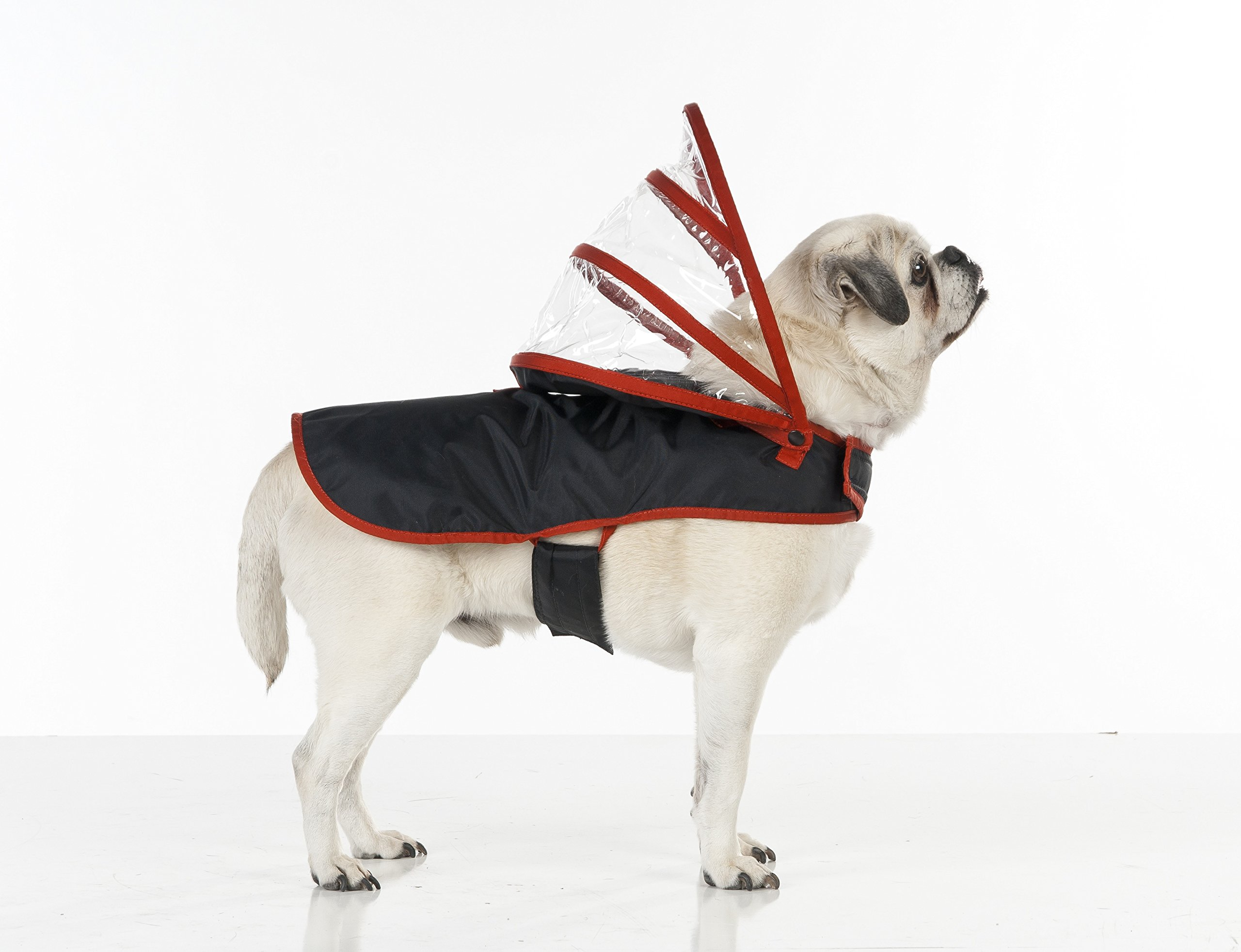 Dog Raincoat Black with Red (XL)