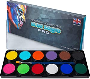 Professional Face Paint Kit - by Blue Squid PRO, 12x10g Classic Color Palette, ???????????? Professional Face & Body Painting Supplies SFX, Adult & Kids, Superior Safe Paint for Sensitive Skin Halloween