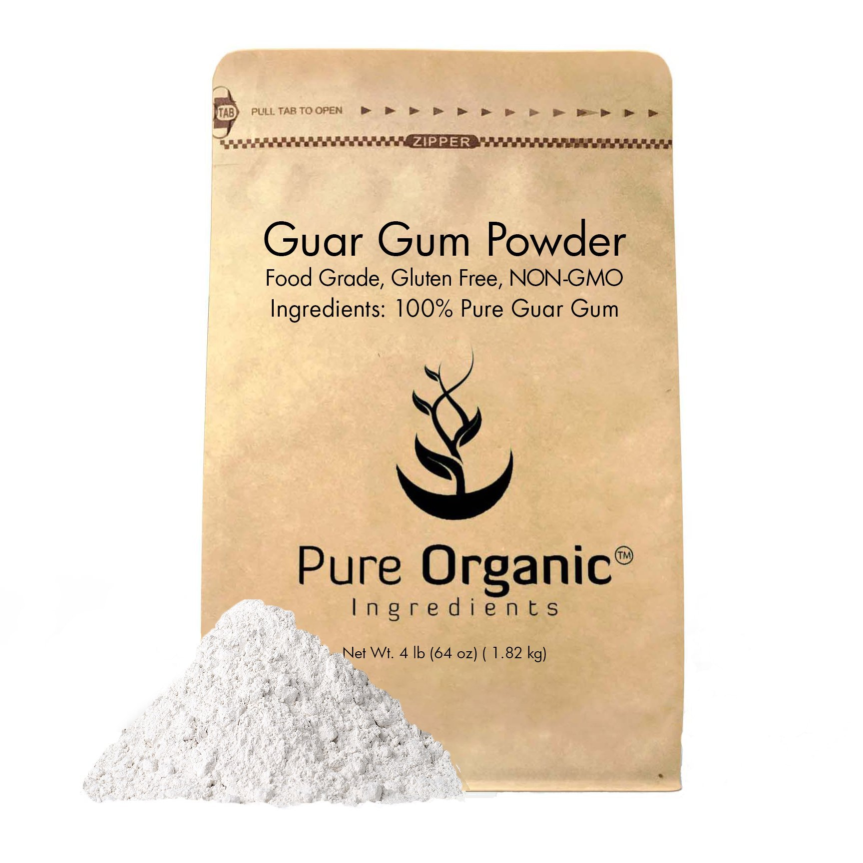 Pure Organic Ingredients Guar Gum Powder, 4 lb, 100% Food Grade, Gluten Free, Non-GMO,Thickening Agent