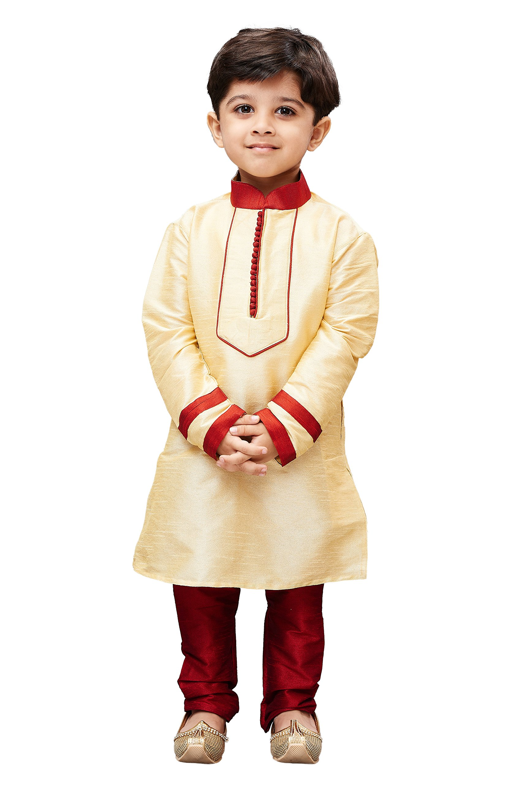 JBN Creation Boys' Gold Cotton Silk Kurta Pyjama Set(VASBKGO004nPMA_20)