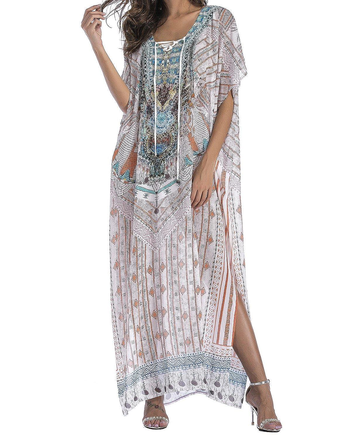 Style1 Flowy Rhinestone Long Caftan Beach Maxi Dress Sexy Cover Up For Women