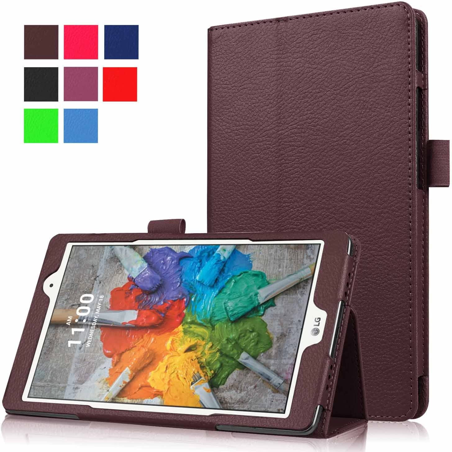 Asng LG G Pad X 8.0 / G Pad III 8.0 Case - Slim Folding Stand Cover Smart Case for LG G Pad X 8.0 (V521) / AT&T (V520) / LG G Pad III 8.0 (V525) 8-Inch Tablet (Brown)