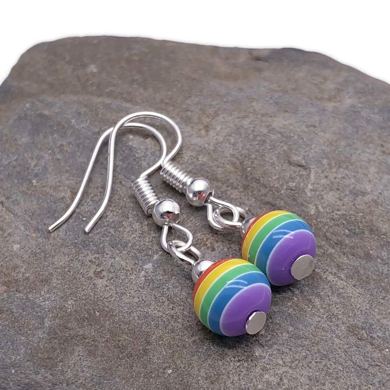 8mm Striped Acrylic Beads on Silver Tone Nickelfree Hooks LGBT Pride RAINBOW EARRINGS