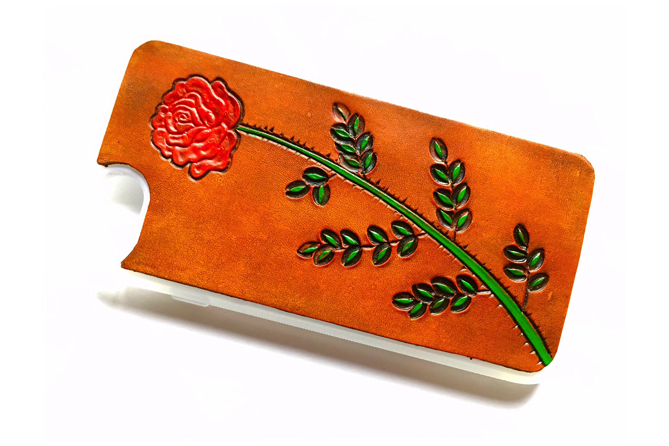 Leather iPhone 6s Plus/iPhone 6 Plus Case | Red Rose | The Lodgepole Case | Tan Handmade 5.5'' Hard Back Slim Fit Silicone Edges Protective Cowhide Leather iPhone Case by Lodgepole Leathercraft