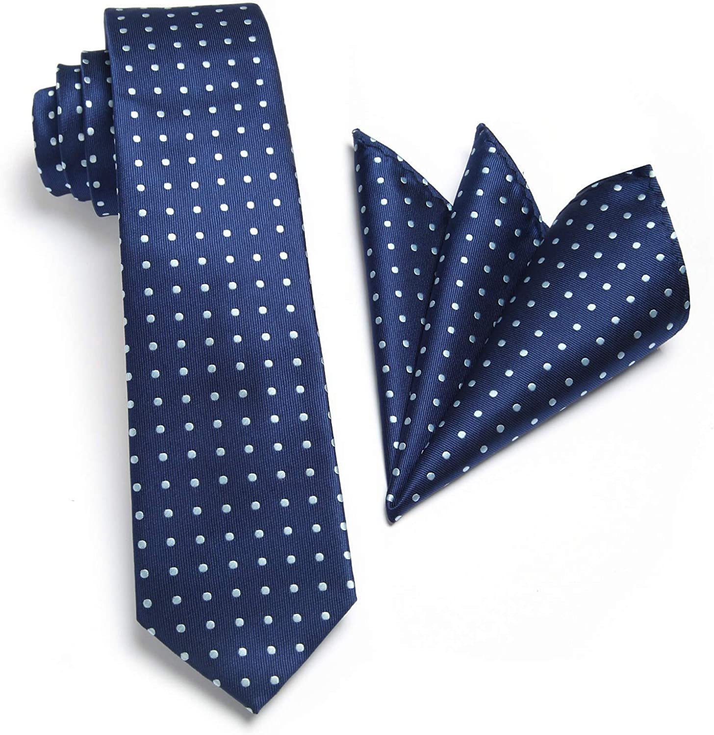 HISDERN Handmade Tie 2.75 Inches Casual Skinny Neckties for Men with Pocket Square Set