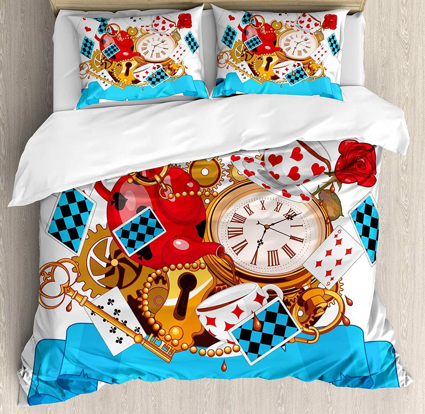 Multi 5 Twin Alice in Wonderland Duvet Cover Set Twin Size, Mad Design Cards Clocks Tea Pots Keys Flowers Fantasy World Illustration,Lightweight Microfiber Duvet Cover Sets, Multi