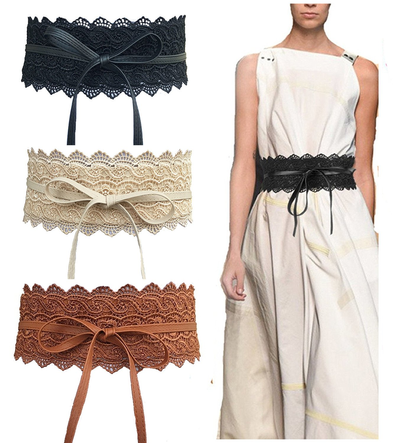 Toptim Women's Lace Belt Bow Tie Wrap Faux Leather Boho Band Corset 3-Pack (Black-Coffee-Beige)