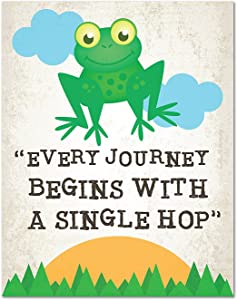 Every journey begins with a single step, nursery decor, 08x10 Inch Print wall decor, playroom decor, motivational quotes, inspirational decor, frog decor, every journey quote,Cute Decor for kids