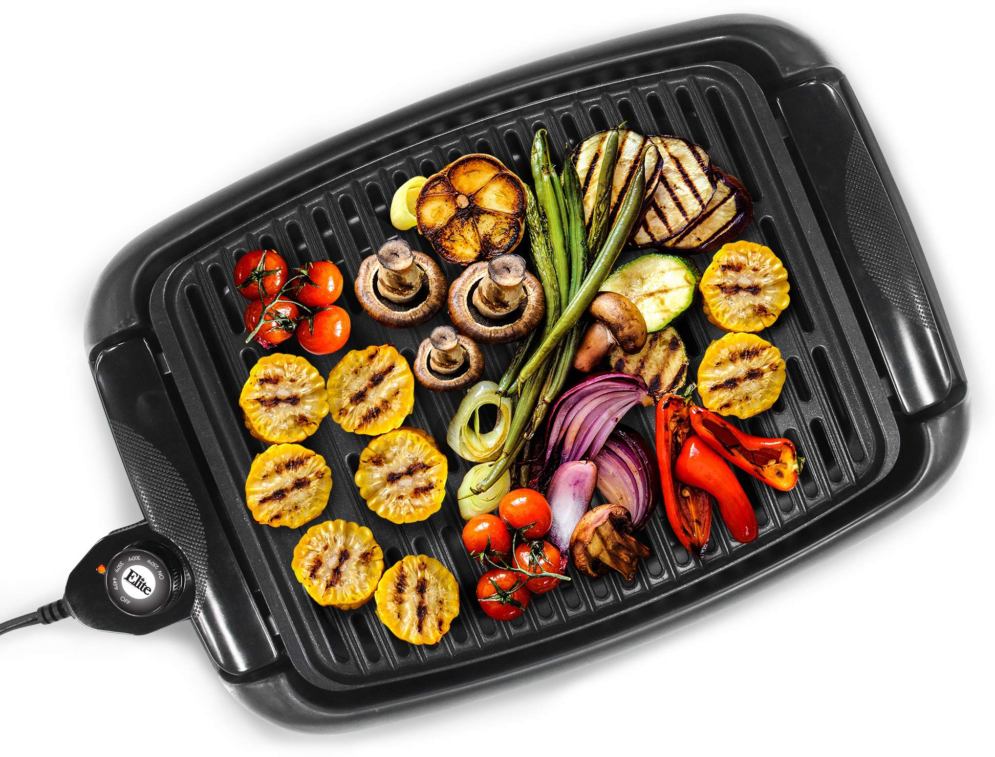 Maxi-Matic EGL-3450 Indoor Electric Non-Stick Grill Adjustable Thermostat, Dishwasher Safe, Faster Heat Up, Low-Fat Meals, Easy Clean Design, 13 x 9-inch, Black by Maxi-Matic