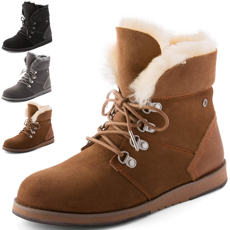 Winter Boots for Women, Waterproof Sheepskin Shoes, High Density EVA