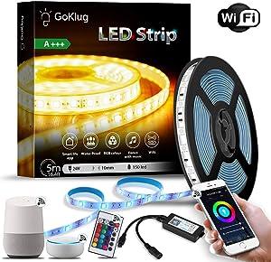 LED Strip Alexa 16.4 ft LED Strip Google Home, LED Strip Dimmer, RGB LED Strip Kit LED Strip Waterproof, LED Strip for TV, LED Strip Lights Music Sync, Controllable via LED Strip Remote and Mobile App