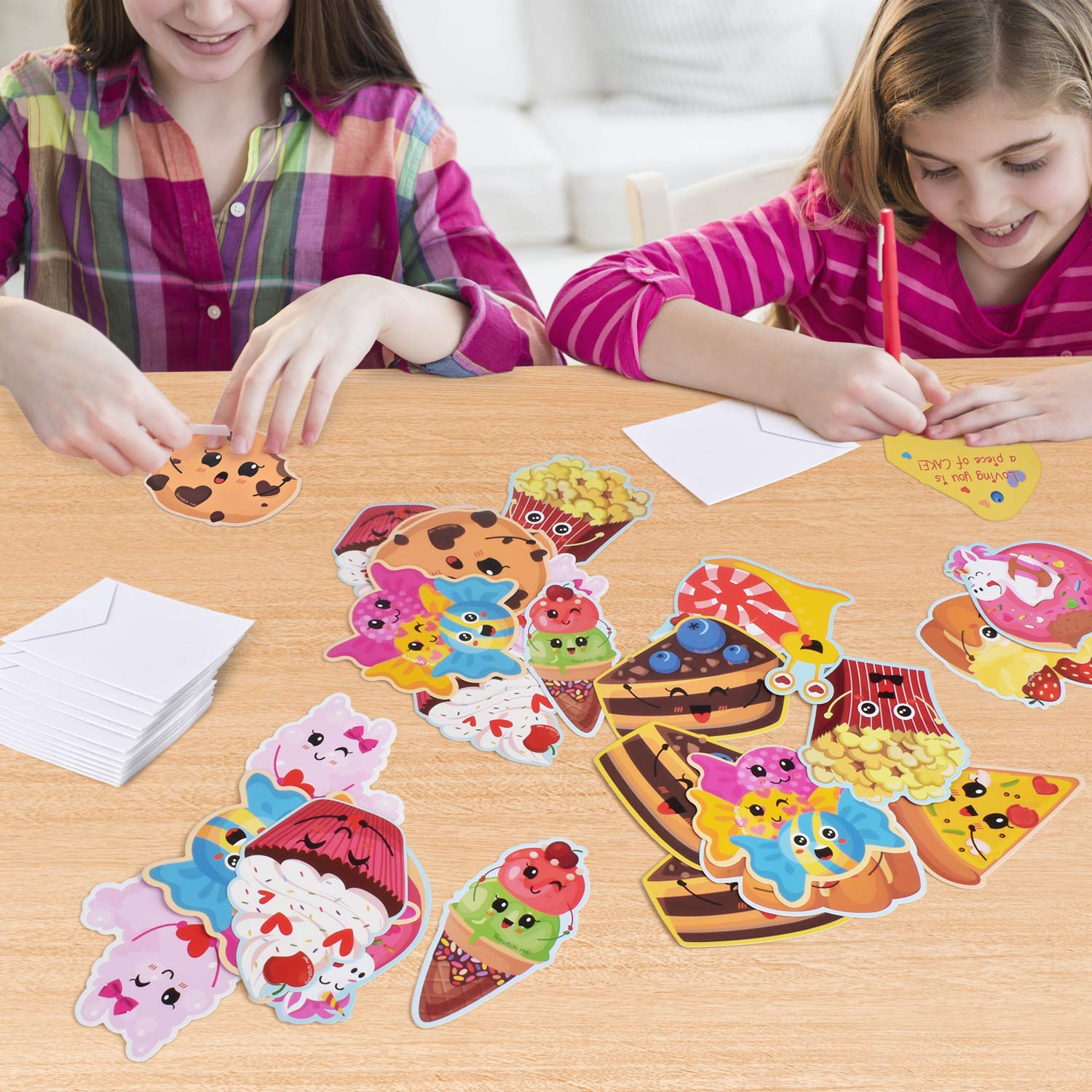 36 PCS Including 12 Different Patterns Scratch and Sniff Cards with 12 Scents for Valentine/'s Day HERZOME Valentines Day Cards for Kids Kids Exchange Treats for School Envelopes Included