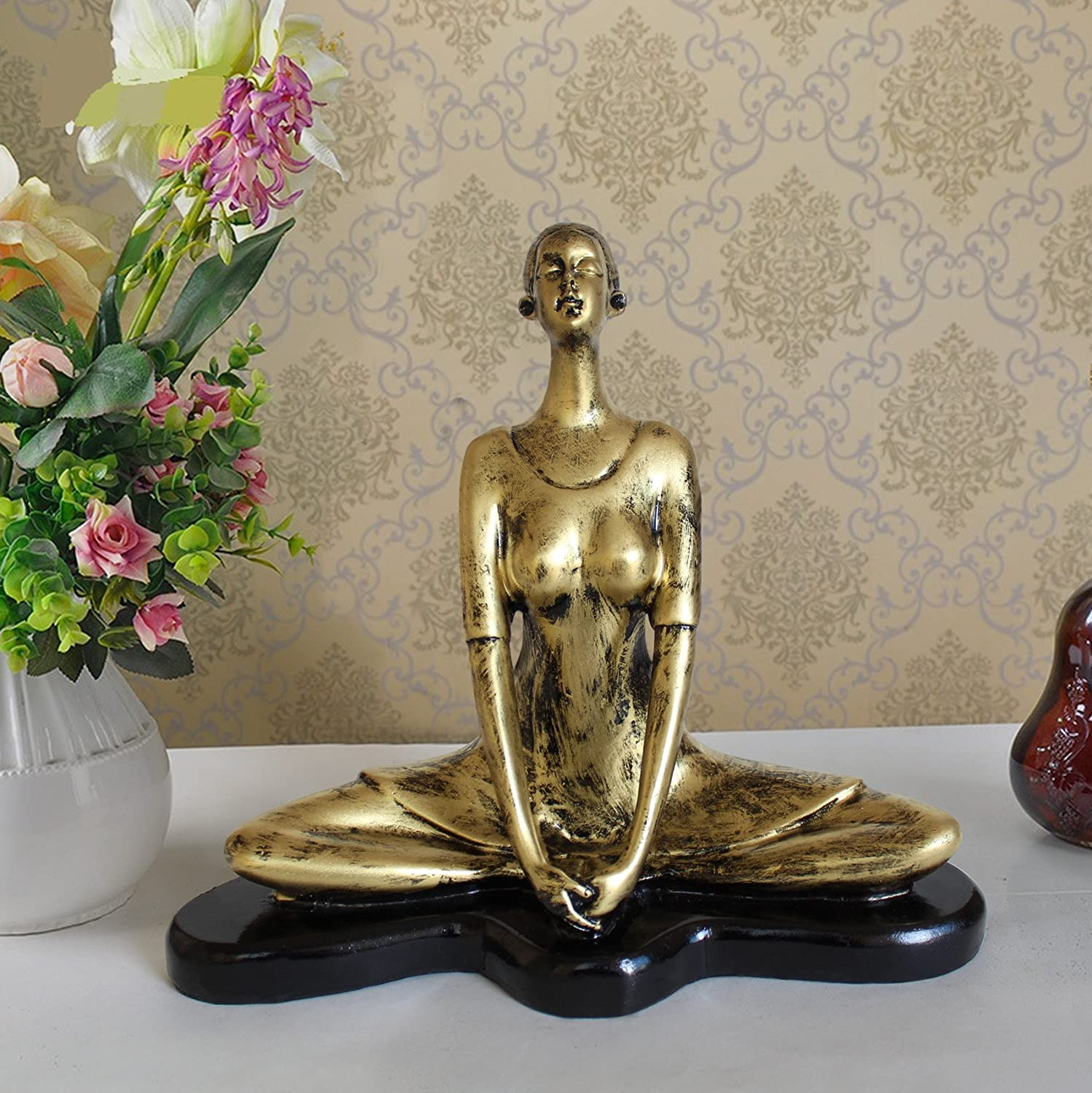 . TIED RIBBONS Yoga Lady Showpiece Outdoor Decorative Items in Garden  Sculptures Showpiece Statue Figurines Items for Living Room Drawing Room  Bed Room
