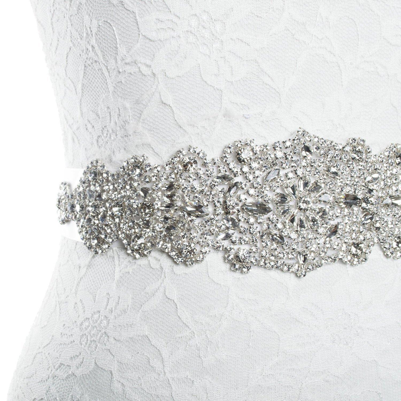 Redowa Rhinestone wedding dress applique patch for bridal sash belt (One Size, Champagne Satin Ribbon)