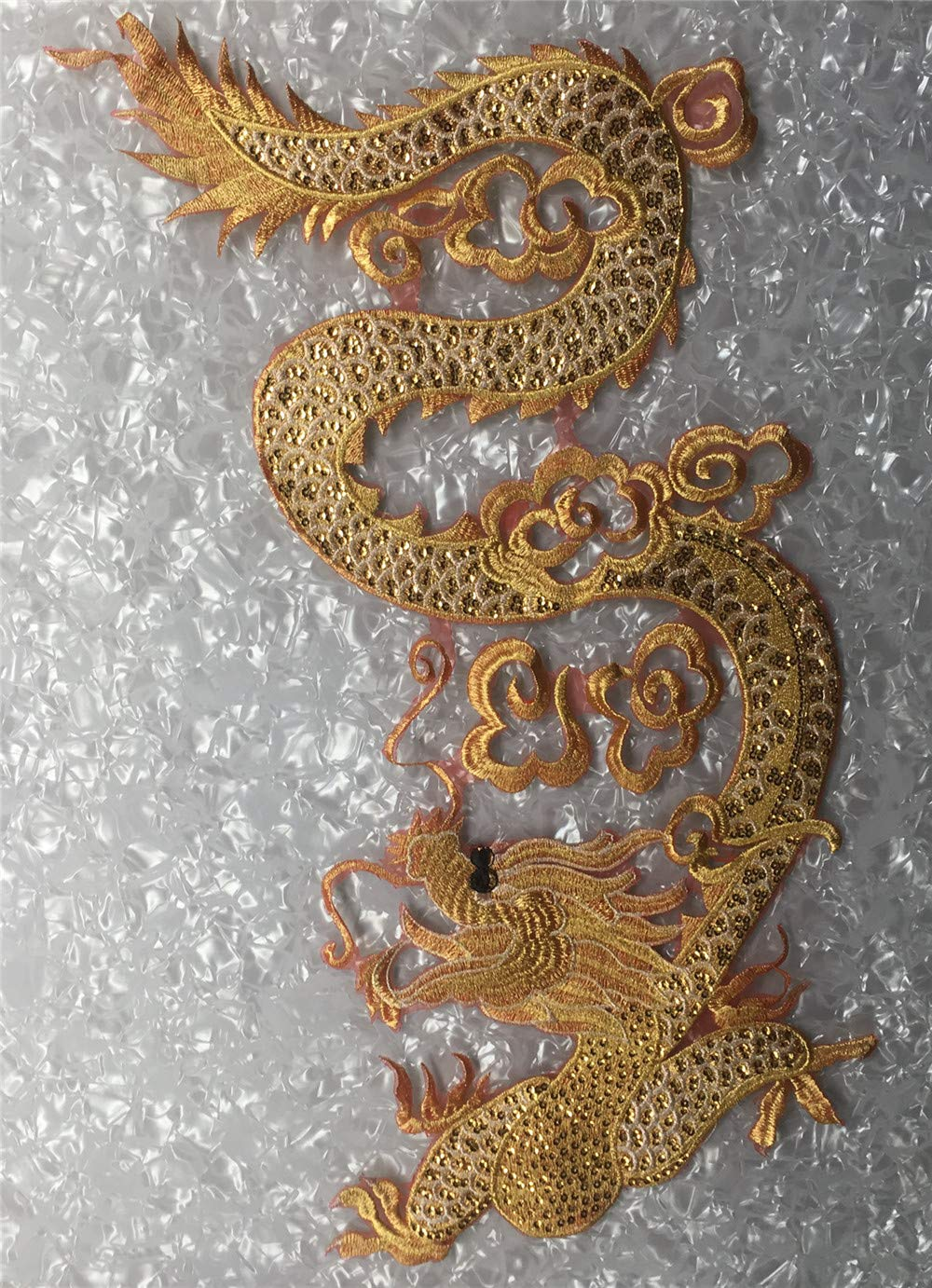 Large Dragon Gold Line Sequined Embroidery Patches Applique for Wedding Performing Clothes Evening Dress DIY Patches 68x26.5CM (Head for Left) by ROUND YUAN