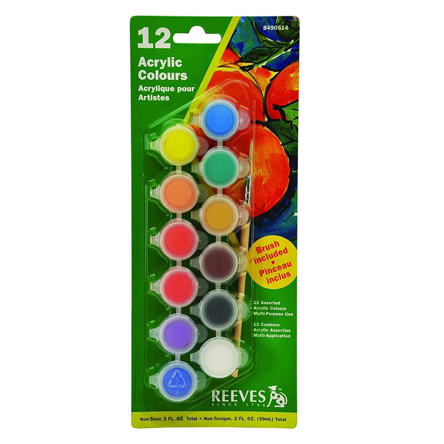 Amazon.com: Reeves Set of 12 Artist Acrylic Colour Pots with brush