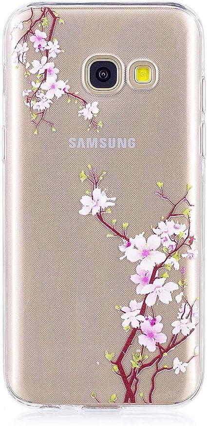 BoxTii Coque pour Galaxy A3 2017, iPhone 6S Silicone Coque Fleurs Housse Transparent Etui pour Samsung Galaxy A3 2017 (Fleur #1)