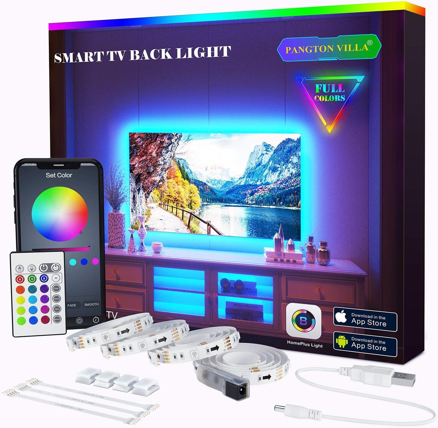 PANGTON VILLA Tira de luces LED de 6.56 pies para 40 – 60 pulgadas TV APP control, USB LED TV Backlight Kit con mando a distancia, USB LED TV Backlight Kit con