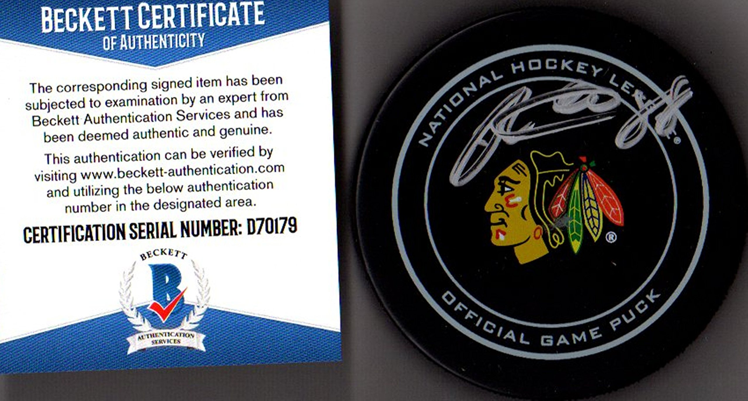 Beckett BAS Patrick Kane Autographed Signed Chicago Blackhawks Real Game Puck