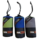 PRML Sports - 2 Pack - Towel & FREE Washcloth - 3MX Super Absorbent Microfiber that Drys Quickly! Sports and Travel Towel set. 30 Day Satisfaction Guarantee.