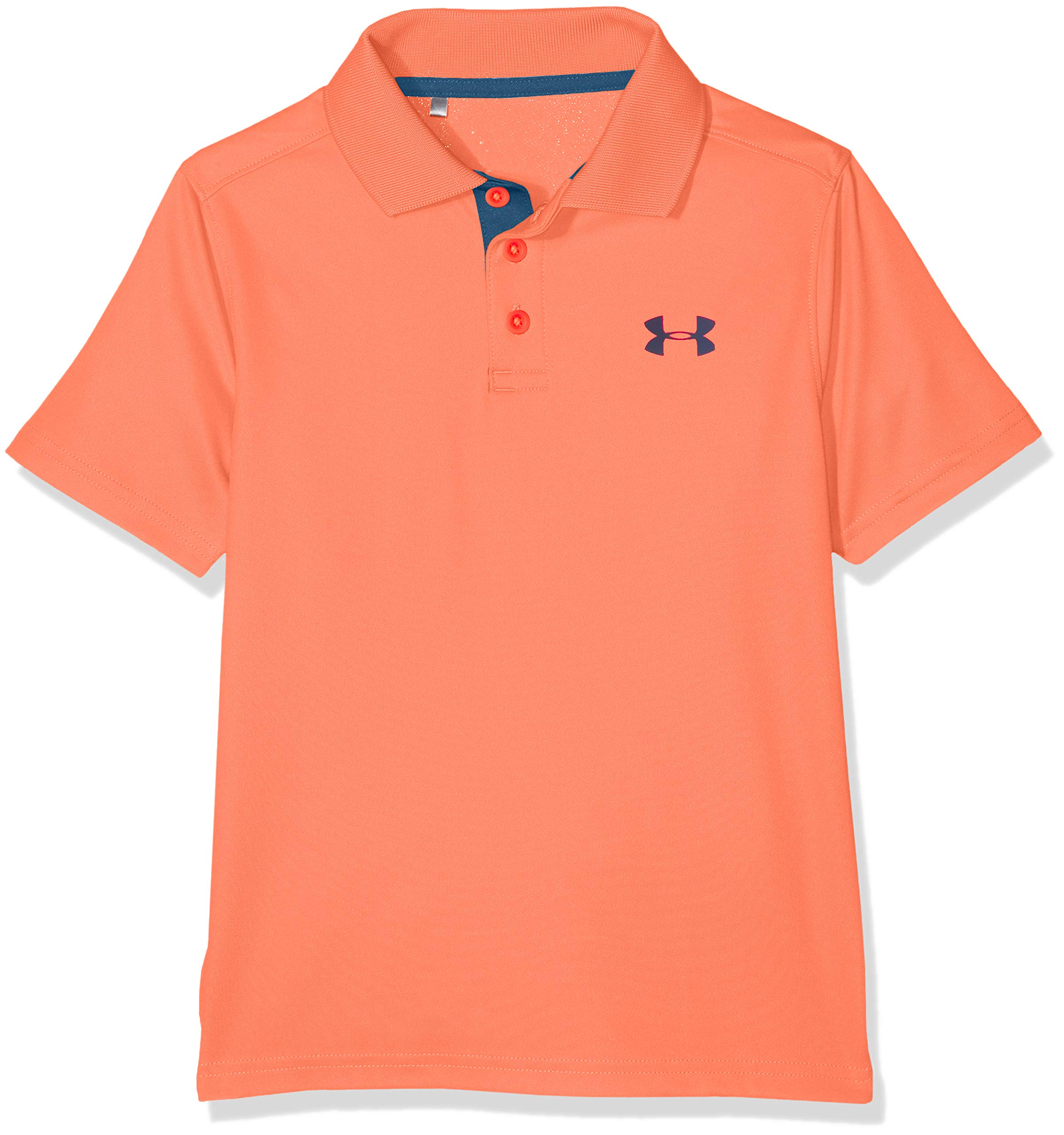 Under Armour Boys' Performance Polo, After Burn (877)/Techno Teal, Youth Small