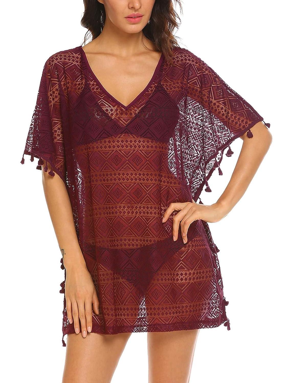 dd7eb38818 Amazon.com: Ekouaer Women's Sexy V-Neck Beach Wear Chiffon Swimsuit Cover  Ups Sheer Bikini Plus Size (S-XXL): Clothing