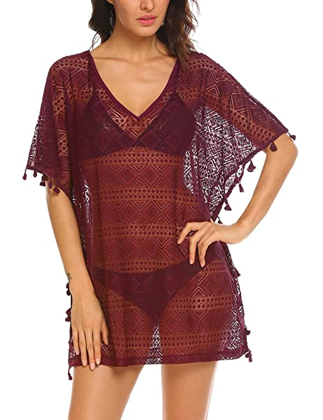 6d174e6101851 Ekouaer Womens Coverups 3/4 Sleeve Swimsuit Beachwear Bikini Cover Up Net  (Wine Red