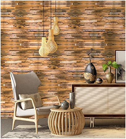 Haokhome 5020 Peel And Stick Wallpaper Wood Plank Brown Grey