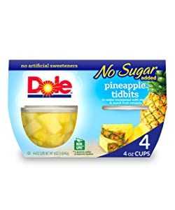 Dole Fruit Bowls, Pineapple Tidbits in Water, No Sugar Added, 4 Oz (Pack of 4)
