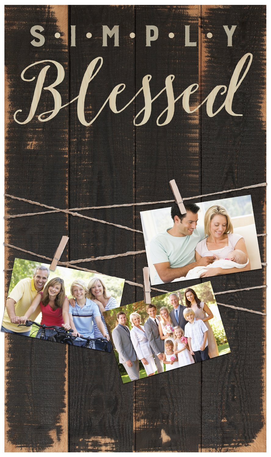 Simply Blessed Distressed 14 x 24 In Solid Pine Wood Clothesline Clipboard Photo and Momento Display