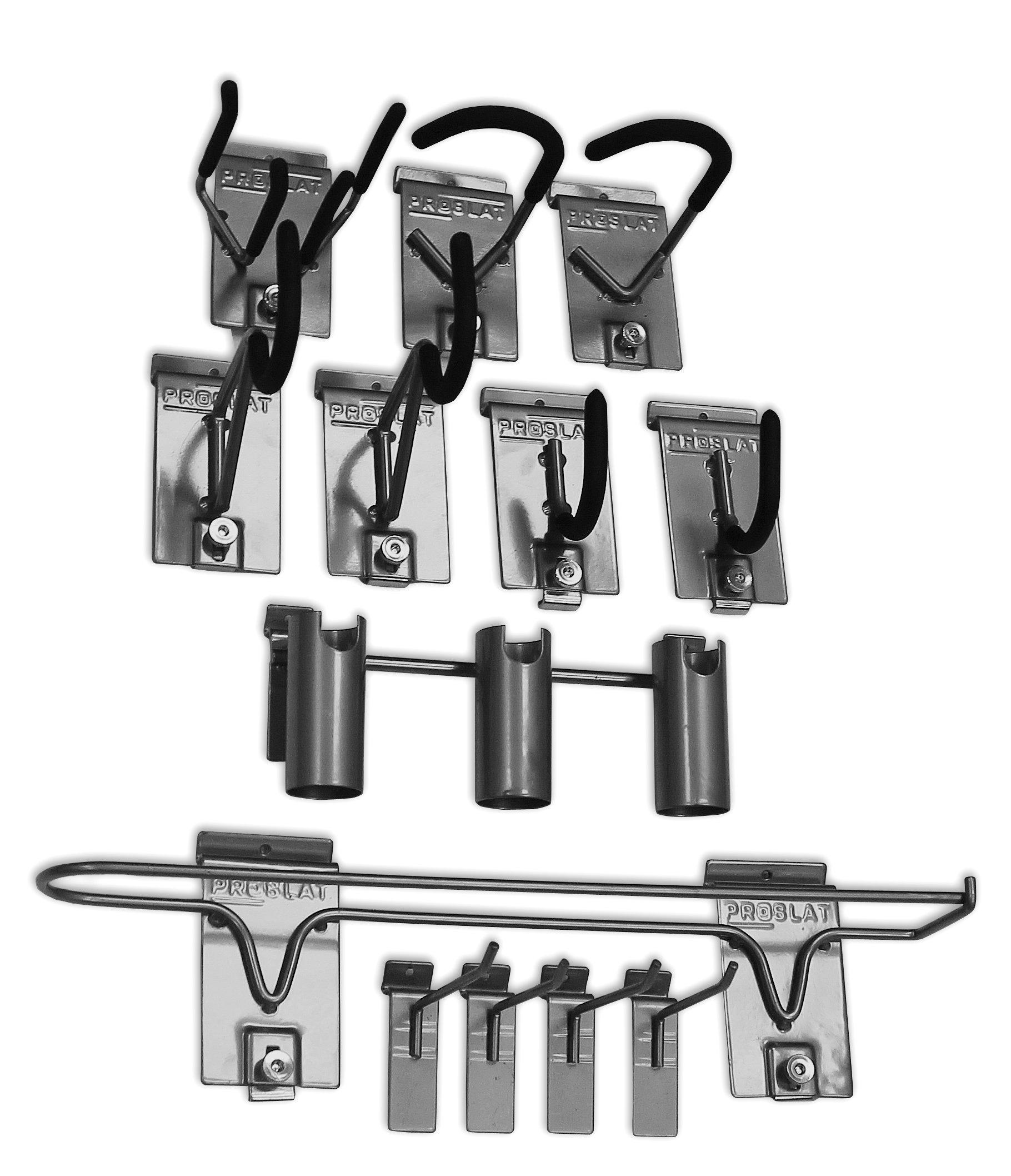 Proslat 11005 Sports Equipment Steel Hook Variety Kit Designed for Proslat PVC Slatwall, 13-Piece
