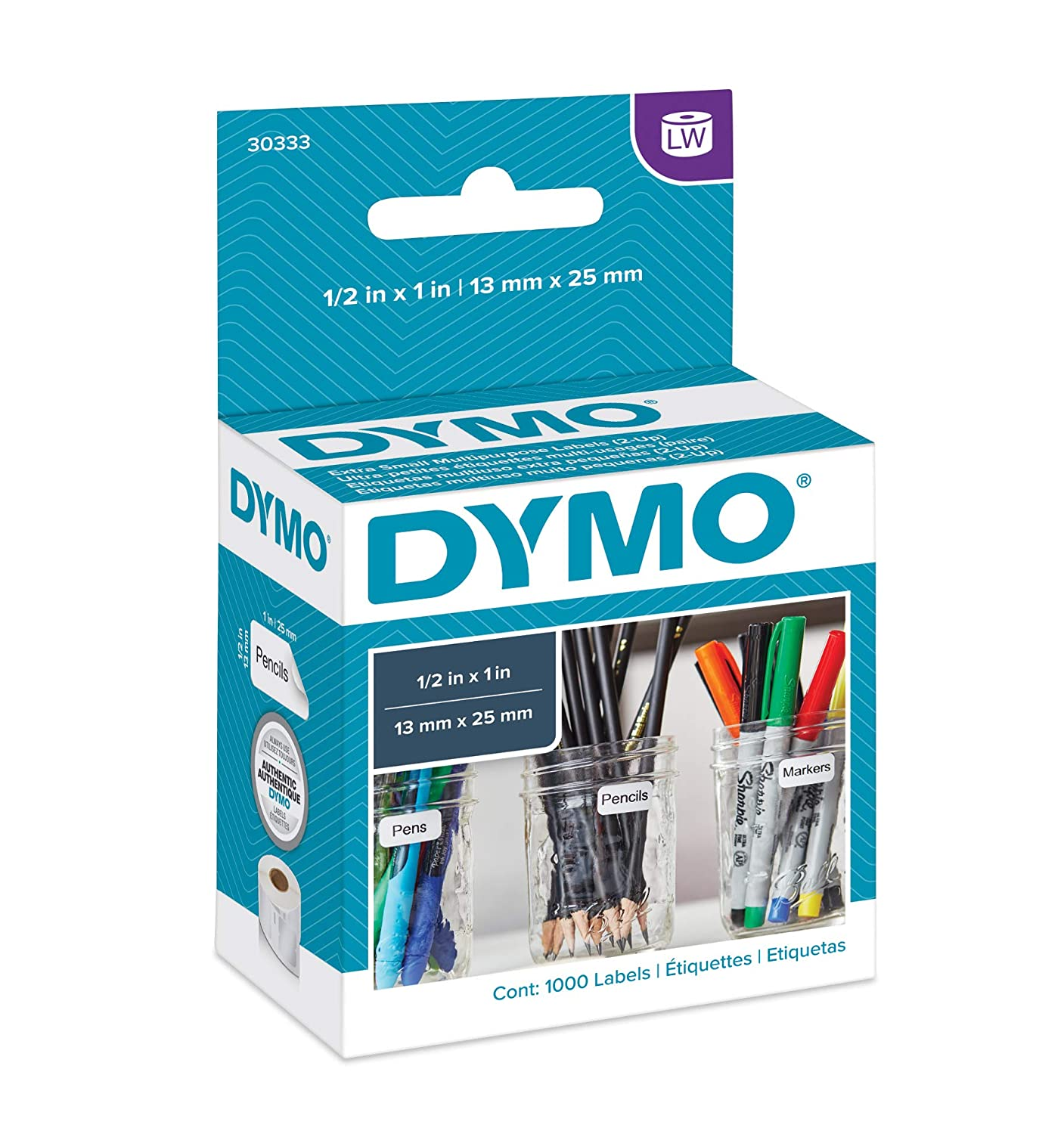 B000067SXG DYMO Authentic LW Extra-Small Multi-purpose Labels for LabelWriter Label Printers, White, 1/2'' x 1'', 1 roll of 1,000 (30333) 81nZm9O26qL