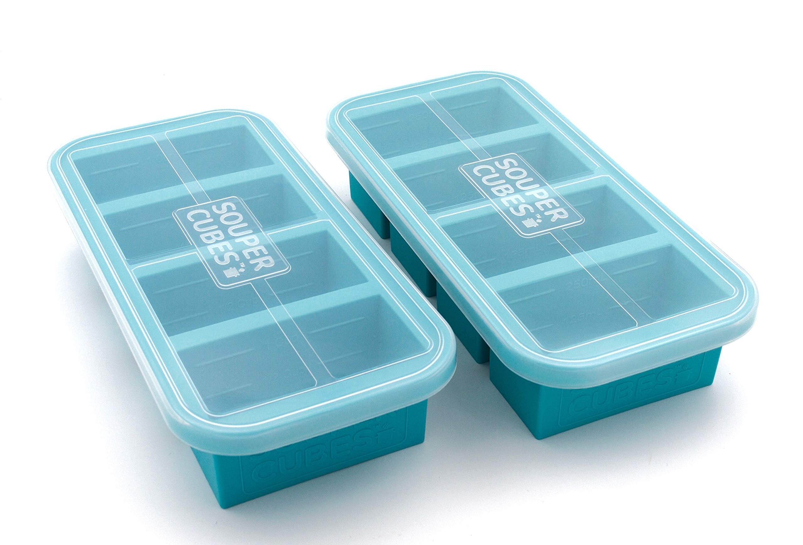 Souper Cubes Extra-Large Silicone Freezing Tray with Lid - 2 pack - makes 8 perfect 1cup portions - freeze soup broth or sauce by Souper Cubes