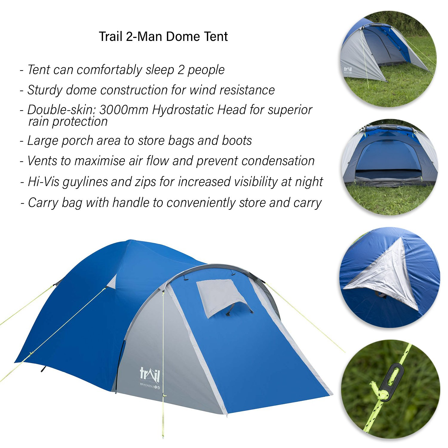 Trail 2 Man Dome Tent With Large Porch C&ing Festival Waterproof 3000mm HH Amazon.co.uk Sports u0026 Outdoors  sc 1 st  Amazon UK & Trail 2 Man Dome Tent With Large Porch Camping Festival Waterproof ...