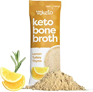 product image for Kiss My Keto Bone Broth Powder Travel Packets — Collagen Protein (9g) + MCT Oil (4g), 18 Amino Acids | Low Carb Lemon Turkey Thyme (15 Pack), Instant Bone Broth Soup — Single Servings