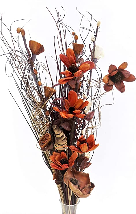Own Chocolate Cream Dried Artificial Flower Bouquets 85cm Tall Ready For A Vase Amazon Co Uk Kitchen Home