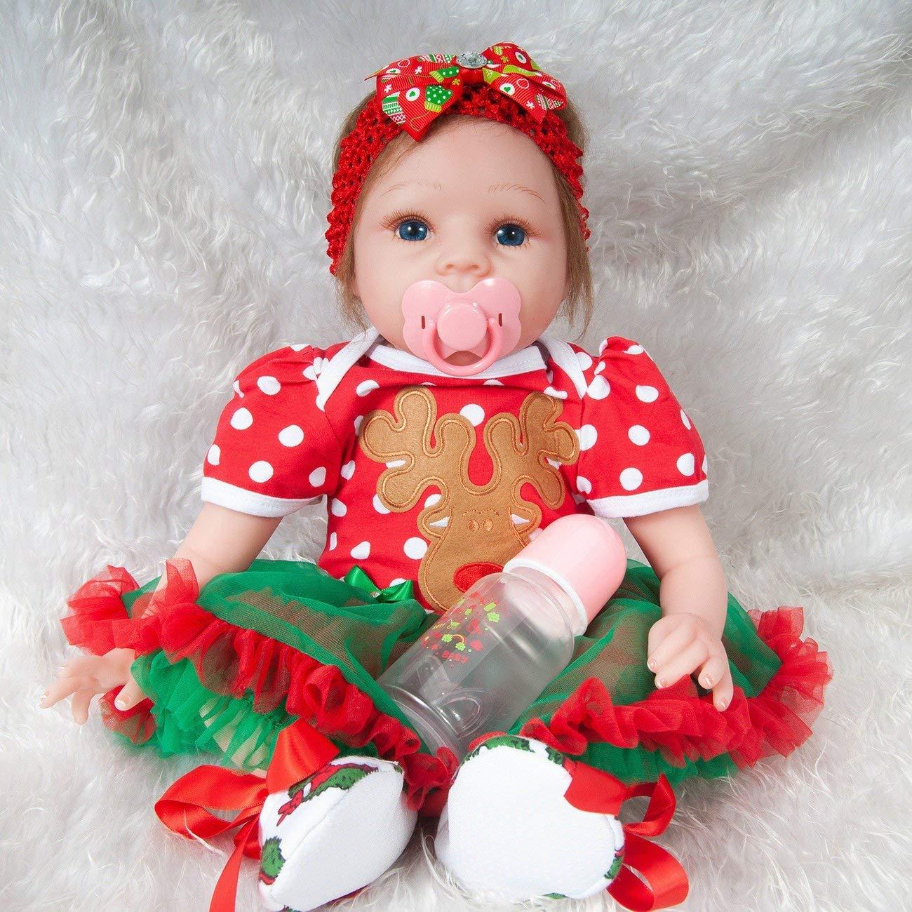 Azalea 55 cm Silicona Reborn Baby Doll Juguete Realista Paño Suave Cuerpo Navidad Ciervos Cabeza Decoración Muñeca Recién Nacido Regalo de Cumpleaños