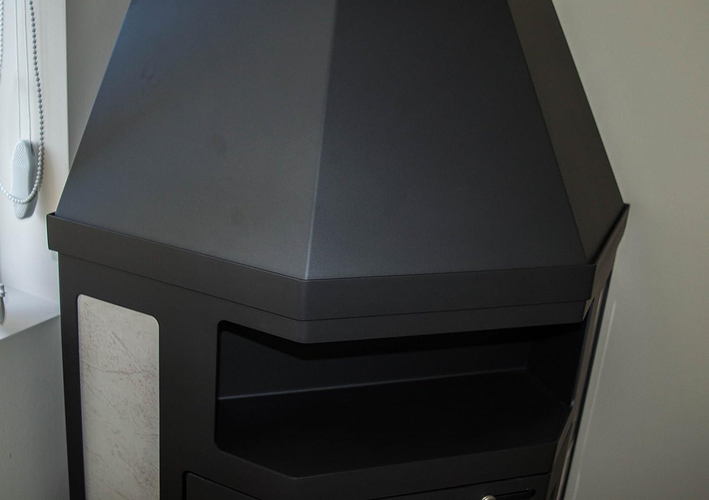 Estufa de leña modelo esquinero 14 - 18 kW de cerámica con forro superior flauta salida BlmSchV-2: Amazon.es: Bricolaje y herramientas