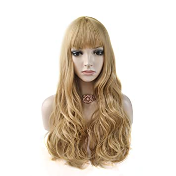 DAOTS 24 quot  Long Curly Wigs with Bangs for Women Girls Heat Resistant  Synthetic Fiber Hair 892a5293b
