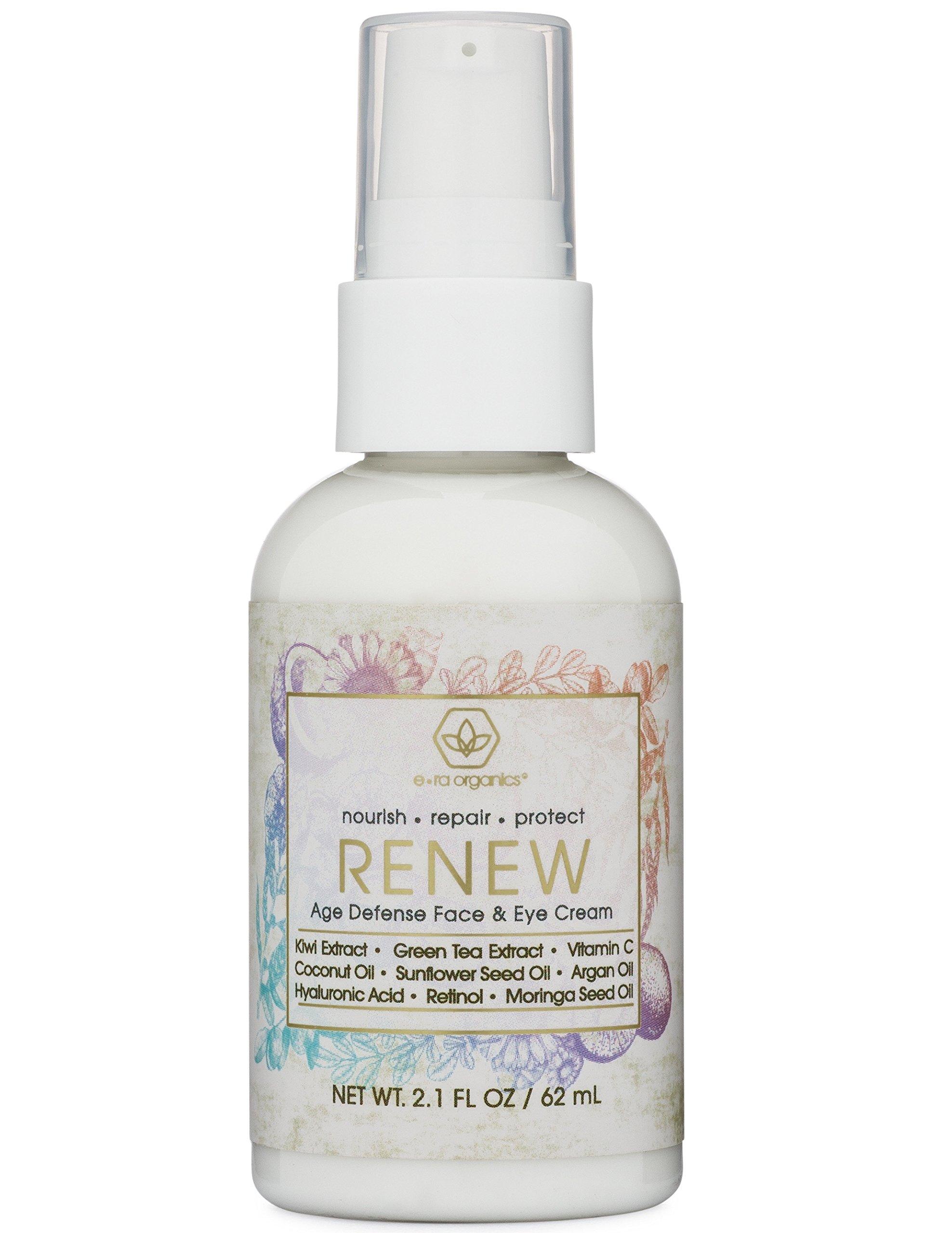 Renew Anti Aging Face And Eye Moisturizer Cream With Hyaluronic Acid, Green Tea & More (2oz.) Natural & Organic Ingredients to Rejuvenate Wrinkles, Crows Feet, Under Eye Bags Dark Circles