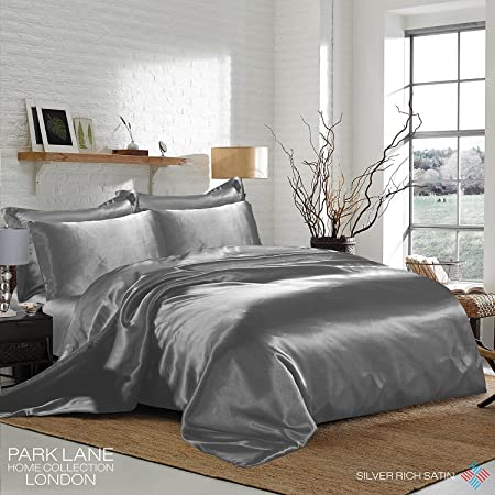 SILVER Satin Double Bed Duvet Cover U0026 Fitted Sheet Set