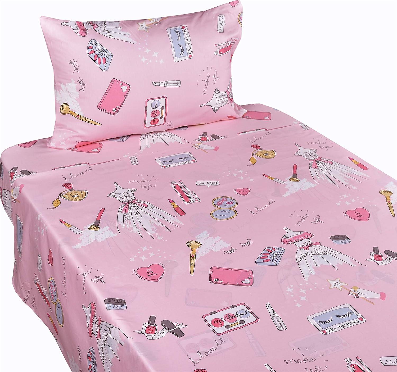 J-pinno Girl Princess Party Make Up Dress Up Pink Twin Sheet Set for Kids Girl Children,100% Cotton, Flat Sheet + Fitted Sheet + Pillowcase Bedding Set