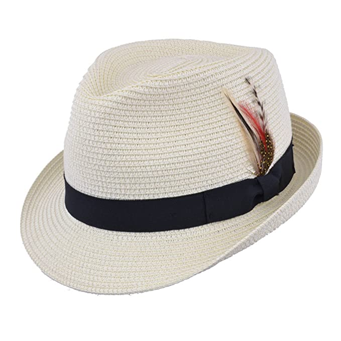 MAZ Unisex Paper Straw Crushable Foldable Summer Trilby HAT with Band and Removable Feather and Adjustable Sweatband in 6 Colours