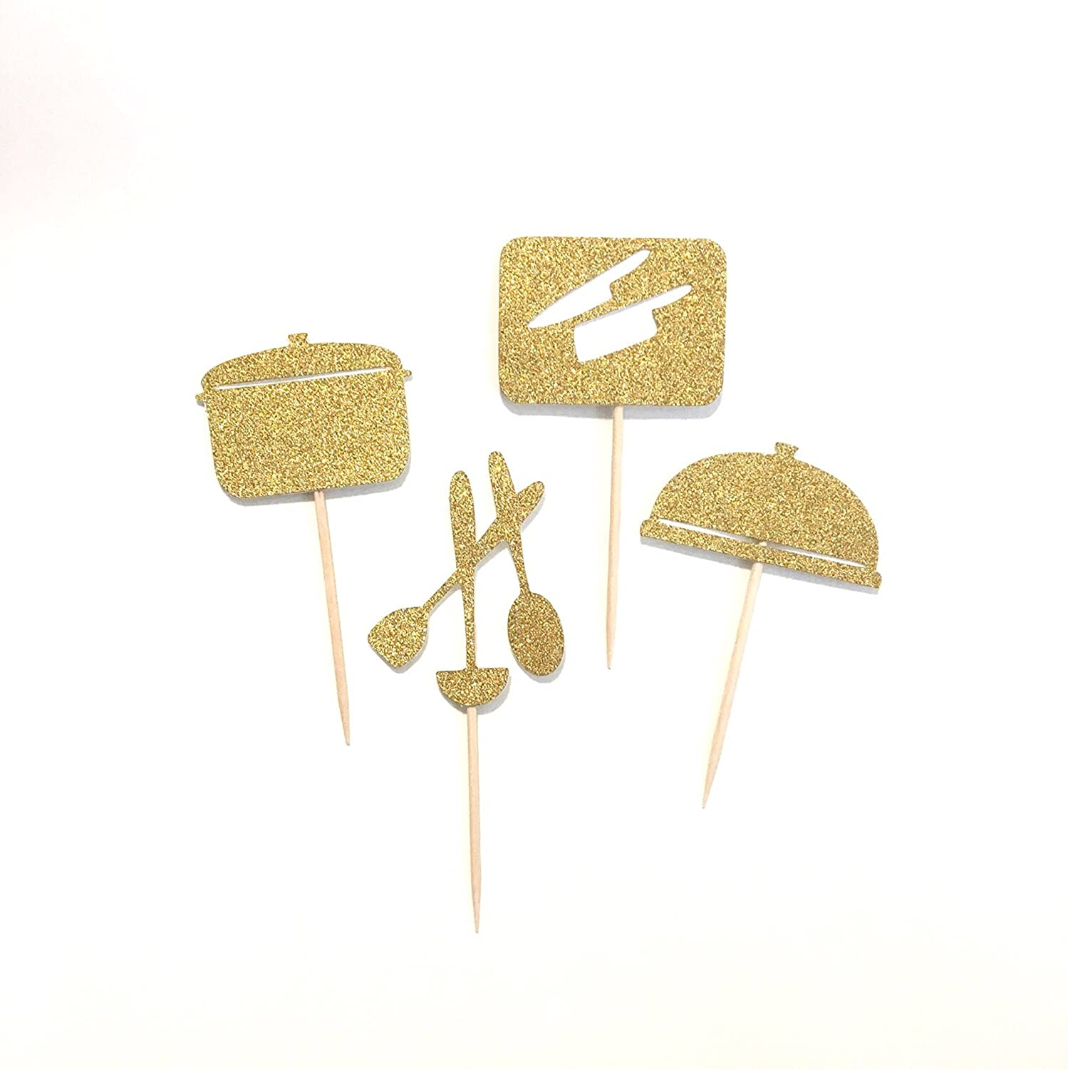 12 pc cooking theme gold glitter cupcake topper little chef for birthday pretend play cook theme