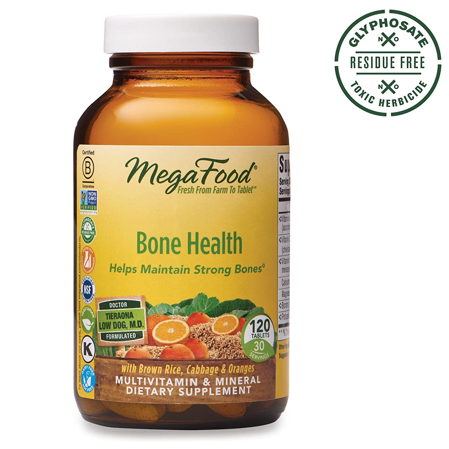 MegaFood, Bone Health, Helps Maintain Strong Bones, Multivitamin Supplement, Gluten Free, Vegetarian, 120 tablets 30 servings