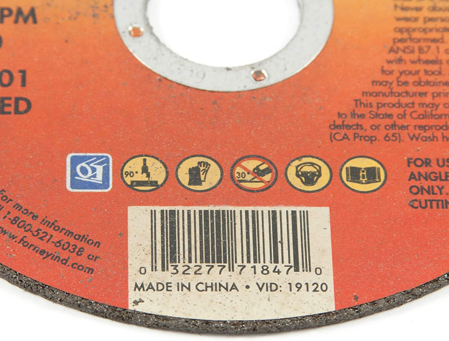 4-1//2-Inch-by-1//16-Inch A46T-BF Forney 71847 Cut-Off Wheel with 7//8-Inch Arbor Metal Type 1