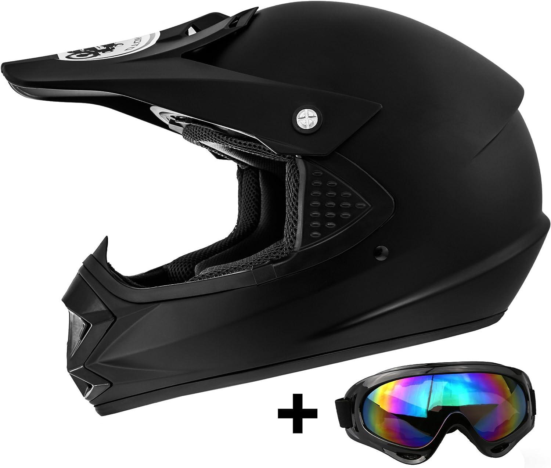 ATO Moto Kids Pro Casque pour enfant avec lunettes de moto MX Noir mat